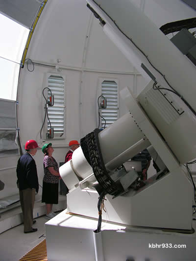 NJIT President Dr. Robert Alternkirch (at left) was among those participating in the special tour of the BBSO's new solar telescope.