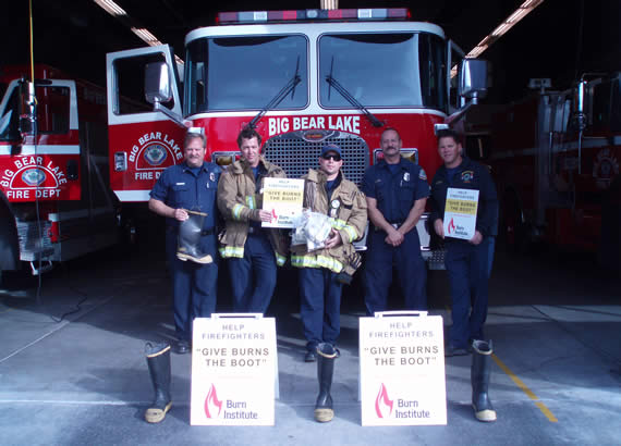 """The Big Bear Lake Professional Firefighters' Association, which collected funds for burn victims in the """"Give Burns the Boot"""" drive, is part of the San Bernardino County Professional Firefighters Local 935 and International Association of Firefighters, and is dedicated to ensuring the well-being of those who serve and protect others."""