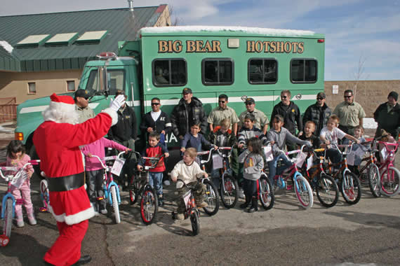 Twenty-one students at Baldwin Lane Elementary School receive new bikes, thanks to the annual program sponsored by the Big Bear Hotshots of the San Bernardino National Forest.