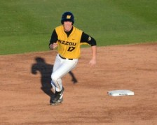 Tigers shortstop Josh Lester rounds second base following a single by Kendall Keeton in the bottom of the third inning. The 9-4 win improved the Tigers record to 15-16 overall. The game was played Tuesday, April 8, 2014 at Taylor Stadium in Columbia, Mo.