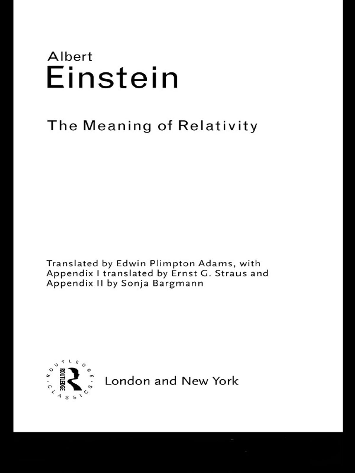 The Meaning Of Relativity Ebook Por Albert Einstein