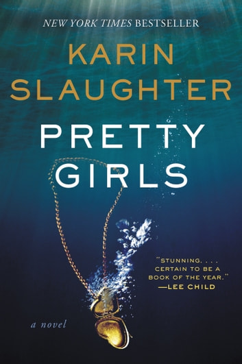 The cover of the book Pretty Girls, which shows the book's title and author and an image of a gold, heart-shaped locket sinking underwater.