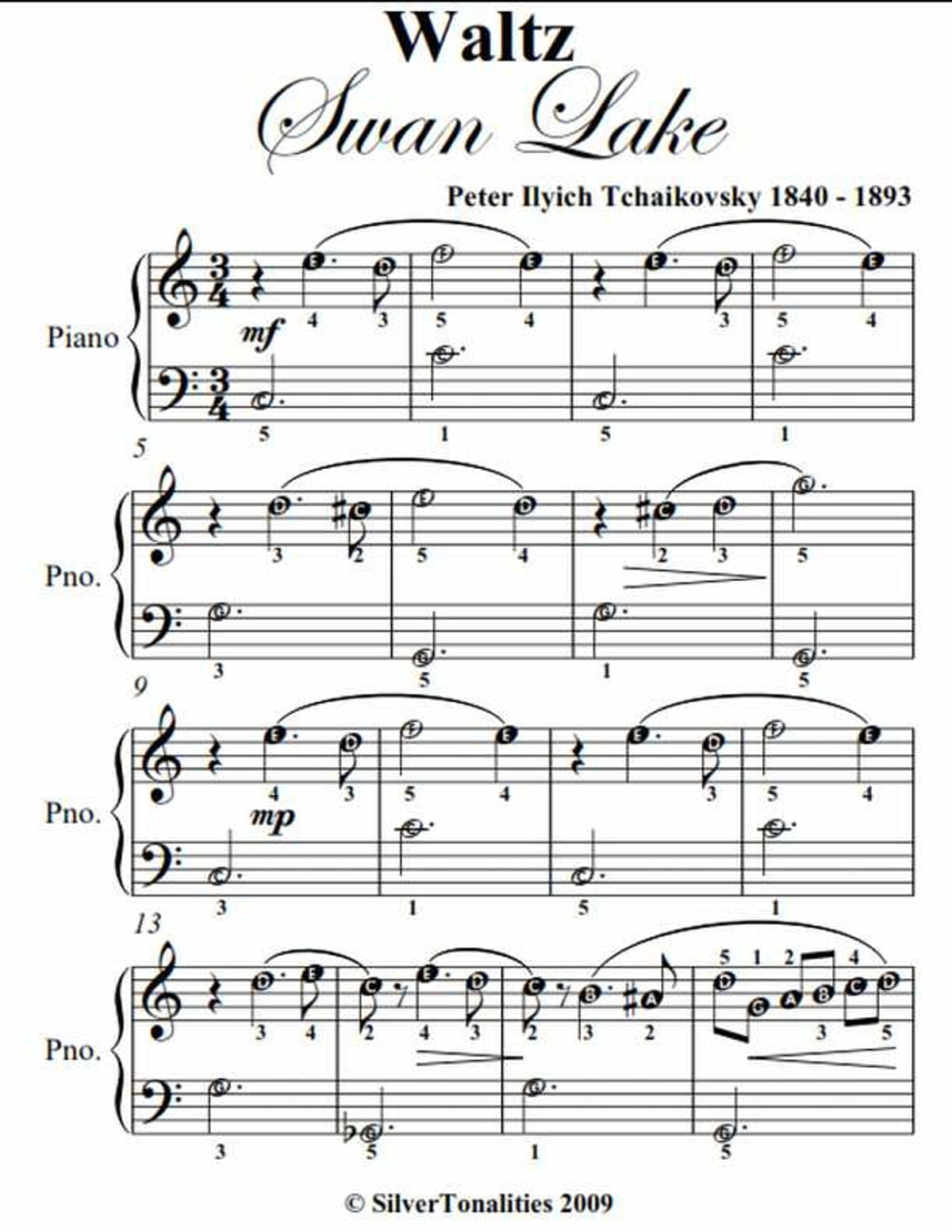 Waltz From Swan Lake Easy Piano Sheet Music Ebook By Peter