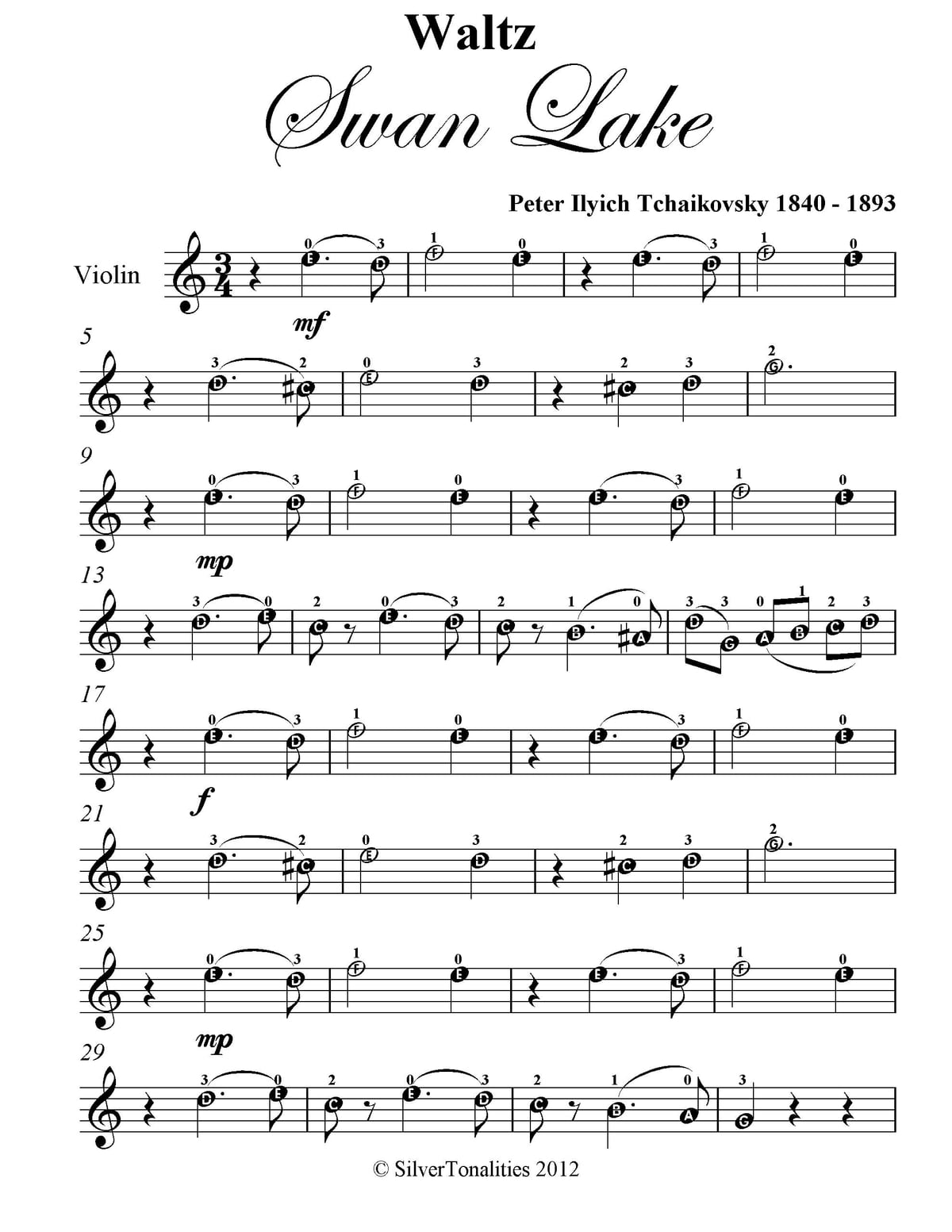 Waltz From Swan Lake Easy Violin Sheet Music Ebook By