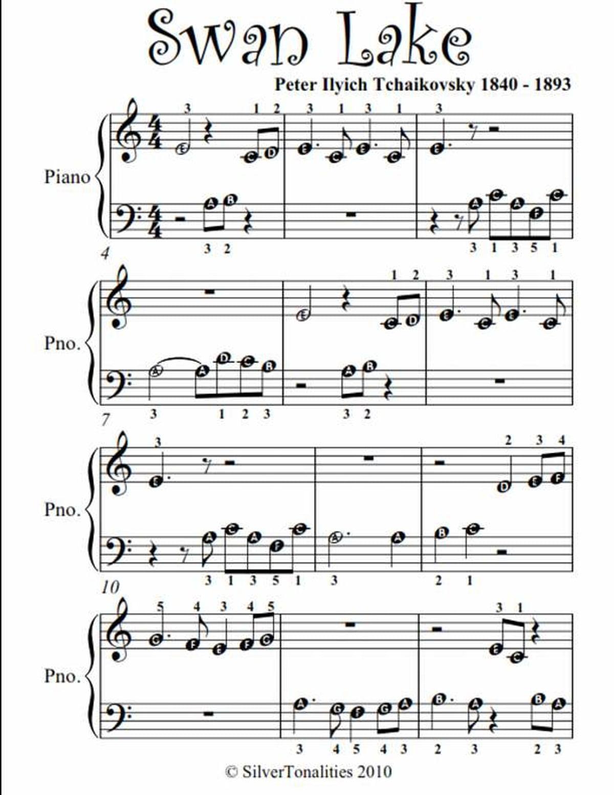 Swan Lake Beginner Piano Sheet Music Ebook By Peter Ilyich