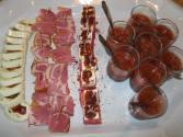 Mozzarella roulade, capicola again with melon, watermelon with feta and gazpacho shots.