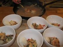 Bowls of coconut shrimp soup.