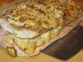 The stuffed fish out of the oven.