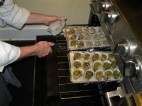 Oysters baking.