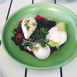 blackbean, tomato + eschallot fricassee on avocado, topped w. soft herbs + sour cream, served w. poached eggs [v]
