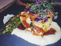 """""""NORTHERN RIVERS"""" CHICKEN BREAST with parsnip purée, grilled asparagus, thyme butter and jus (gf)"""