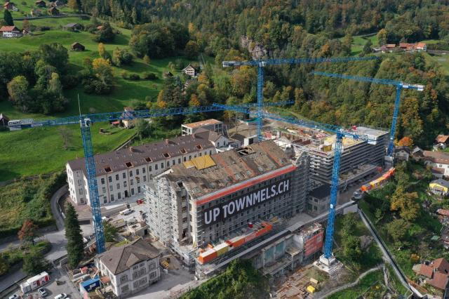 Swiss agent Interkran nears completion of historic revitalization project with four Raimondi topless tower cranes