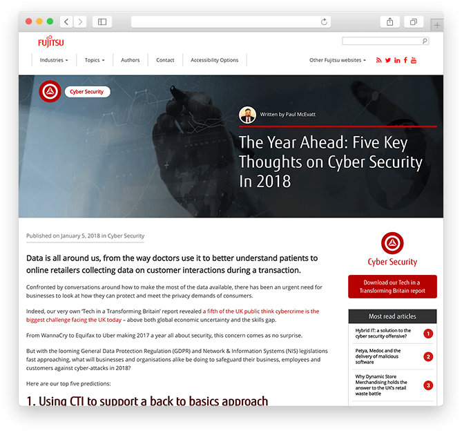 Fujitsu blog UK website redesign