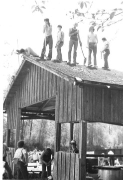 May 1-2: Working on a shelter roof. This weekend Scouts from the Cedar River and Central Kitsap districts were on site.