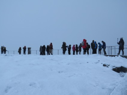 All lined up to look at the Rift Valley in the snow.