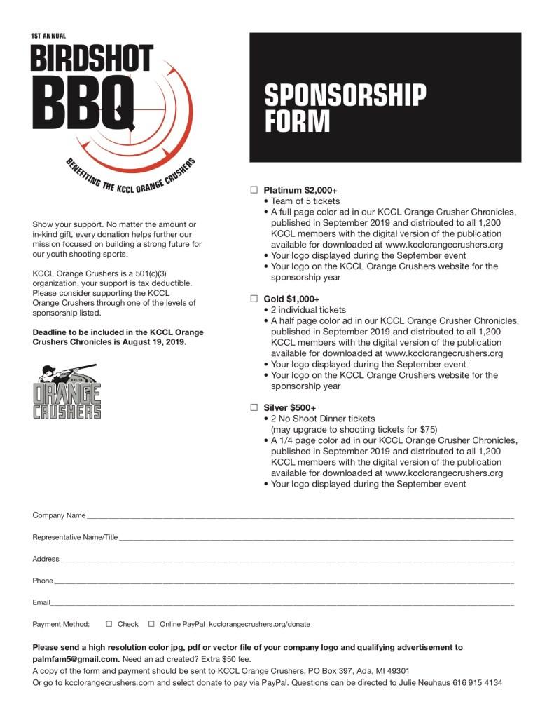 Birdshot BBQ Sponsorship Form
