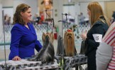 """Erin Myers, left, chats with a fellow dog shower at the Ingham County Kennel Club on Nov. 27, 2015 in the MSU pavilion in Lansing, Michigan. She has been showing dogs for over 25 years, and say it's been a family sport. Her grandmother used t o breed dogs. """"I love the dogs and the comrodery with friends. These aren't my dogs, we're just helping out a friend,"""" Myers shared."""