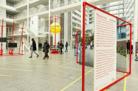 Exhibition 'Play your city' in atrium of the city hall The Hague your city, introduction