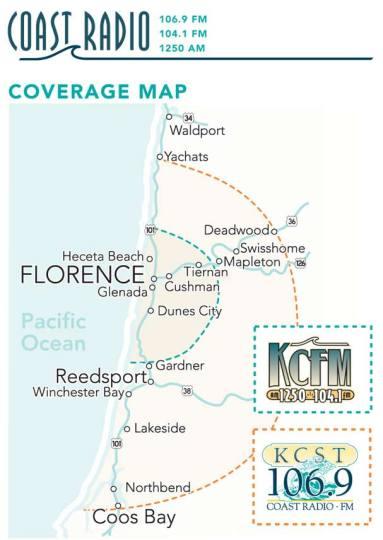 KCST 106.9 fm, 1250 am and KCFM 104.1 fm area coverage map