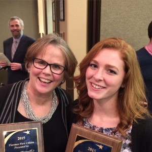2015 Florence First Citizen Gayle Waiss (L.) and Futuire First Citizen Hannah Bartlett were among the honorees at the 9th annual Florence Area Chamber of Commerce Siuslaw Awards January 20th. Photobomb by Hannah's dad, Dan Bartlett.