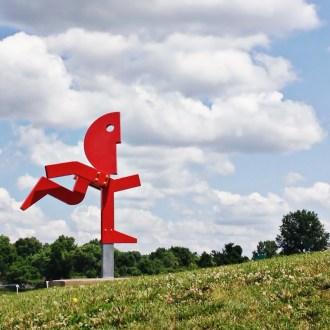 Run Red Run sculpture Leawood-City-Park