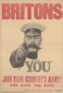 Britons. Join Your Country's Army! (Art.IWM PST 2734) whole: the image occupies the centre, with the title separate and positioned across the top edge, in red. The text is separate and positioned in the lower quarter, also in red. Further text is integrated and positioned lower right, in black. All set against a white background. image: portrait length depiction of Field Marshal Lord Kitchener, wearing a cap, his right hand raised to point towards th... Copyright: © IWM. Original Source: http://www.iwm.org.uk/collections/item/object/16577