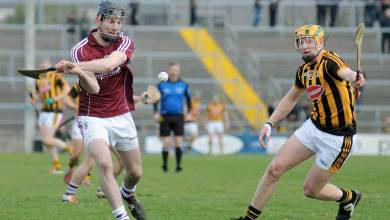 Galway's Padraig Mannion and Kilkenny's John Power face off. Photo: Wikimedia Commons