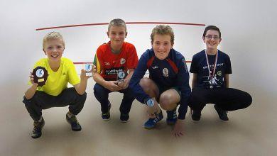Noah Downey U13 Winner, Jake Somers Runner-up U17,Matthew Downey Winner U14, Jamie Stafford 3rd U17 pictured at the Friendship Cup Liverpool. Photo: Dermot O'Brien