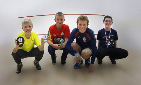 Noah Downey U13 Winner, Jake Somers Runner-up U17,Matthew Downey Winner U14, Jamie Stafford 3rd U17 pictured at the Friendship Cup Liverpool. Photo: Dermot O'Brien