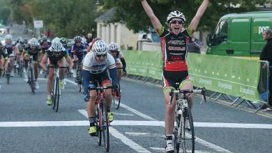 Grace Garner from RST Racing sprinted in ahead of a 63 rider group to scoop the first An Post leader's jersey in An Post Rás na mBan at Barefield near Ennis in 2015. Photo: RasnamBan.com