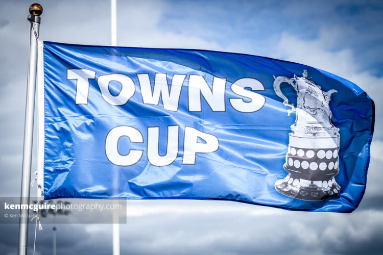 The Provincial Towns Cup flag flies high at the 2015 final between Kilkenny and Enniscorthy at Cill Dara. Photo: Ken Mcguire/Ken McGuire Photography