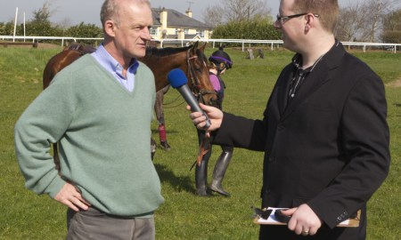 Stephen Byrne Head of News and Sport KCLR96FM speaks with horse trainer Willie Mullins. Photo: Thomas Nolan.