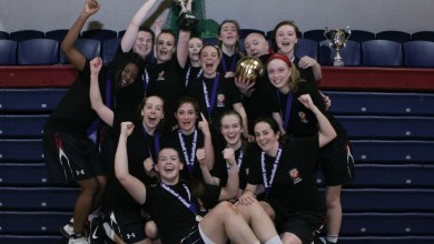 IT Carlow are Womens Division 2 colleges champions, defeating IT Tralee on 15 March 2016. Photo: Basketball Ireland