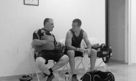 Darren O'Neill and Irish head coach Zaur Antia in Baku. Photo: Iaba.ie