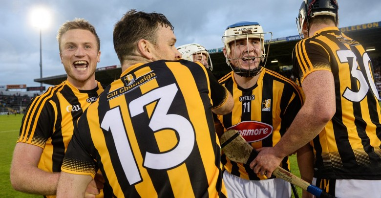 Mark Bergin and TJ Reid (facing) celebrate in the wake of defeating Waterford at Semple Stadium on Saturday 13 August. Photo: GAA.ie