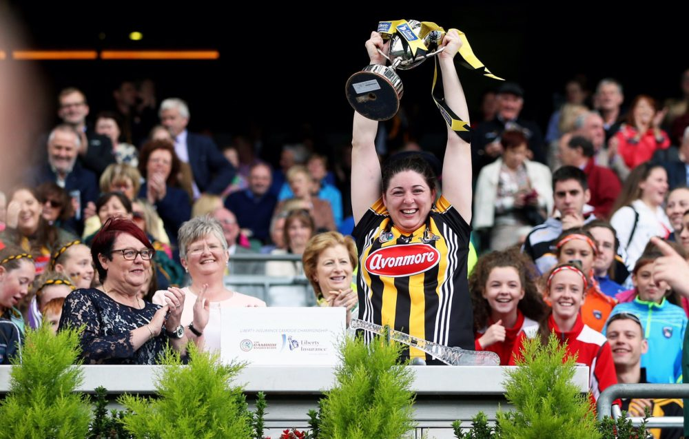 Tullaroan's Áine Fahey lifts the Jack McGrath Cup for Kilkenny. Photo: Inpho/Camogie.ie