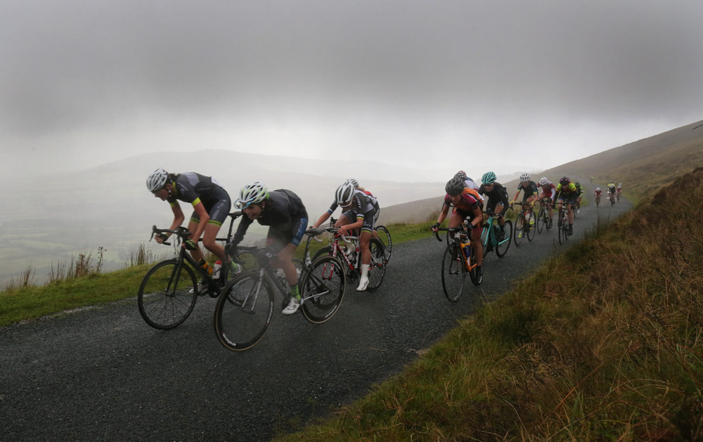 An Post Ras na mBan Stage 3 Kilkenny - Mount Leinster 9/9/2016 The chasing bunch nears the summit of Mount Leinster on todays stage Pic Lorraine O'Sullivan