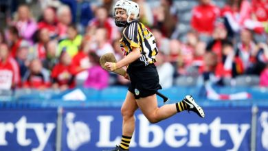 Kilkenny's Shelly Farrell celebrates her goal during Kilkenny's victory over Cork in the 2016 All-Ireland Senior Camogie Final. Photo: Camogie.ie