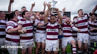 Tullow's Aho Bloomfield lifts the Provincial Towns Cup. Photo: Ken McGuire/KCLR