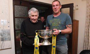 Peter Maher (Ex Evergreen) and former Irish international Richard Dunne. Photo: Matt Browne/Sportsfile