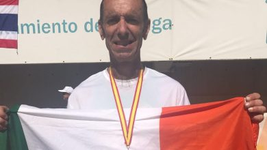 Tony Gartland with his Silver medal for the 5km race walk at the WTG17