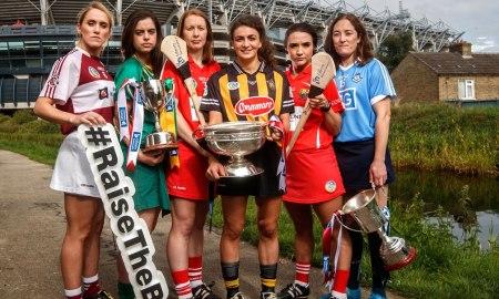 Cork and Kilkenny Camogie teams. Mandatory Credit ©INPHO/James Crombie