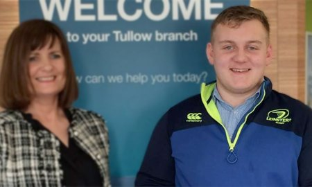 Tullow's Charlie Ward pictued with Bank of Ireland's Madaline Ryan. Photo: John Tobin/Facebook
