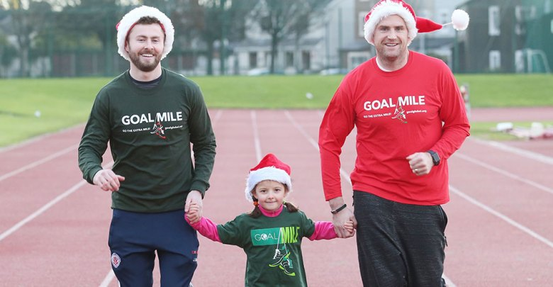 Dublin footballer and Irish rugby star, Jack McCaffrey launch the 2017 GOAL Miles at Irishtown Stadium, Dublin, with the help of Saoirse Moore (5)