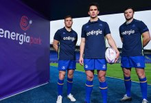 Jordan Larmour, Joey Carbery and Robbie Henshaw at the launch of Energia Park. Photo: Ramsey Cardy/Sportsfile