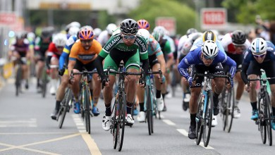 Ireland National Team's Robert-Jon McCarthy sprints for 11th place ahead of Viner-Caremark-Pactimo's Matteo Cigala Mandatory Credit ©INPHO/Bryan Keane