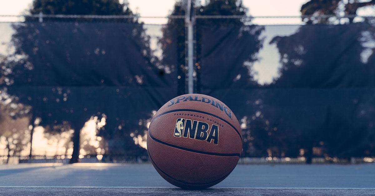 An NBA branded basketball. Photo: Edgar Chaparro