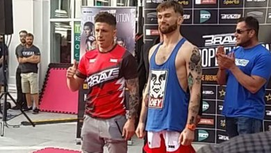 Norman Parke (left) and Kilkenny's Myles Price (right) at the Brave 13 open workouts. Photo: MMAmotion.net/Twitter