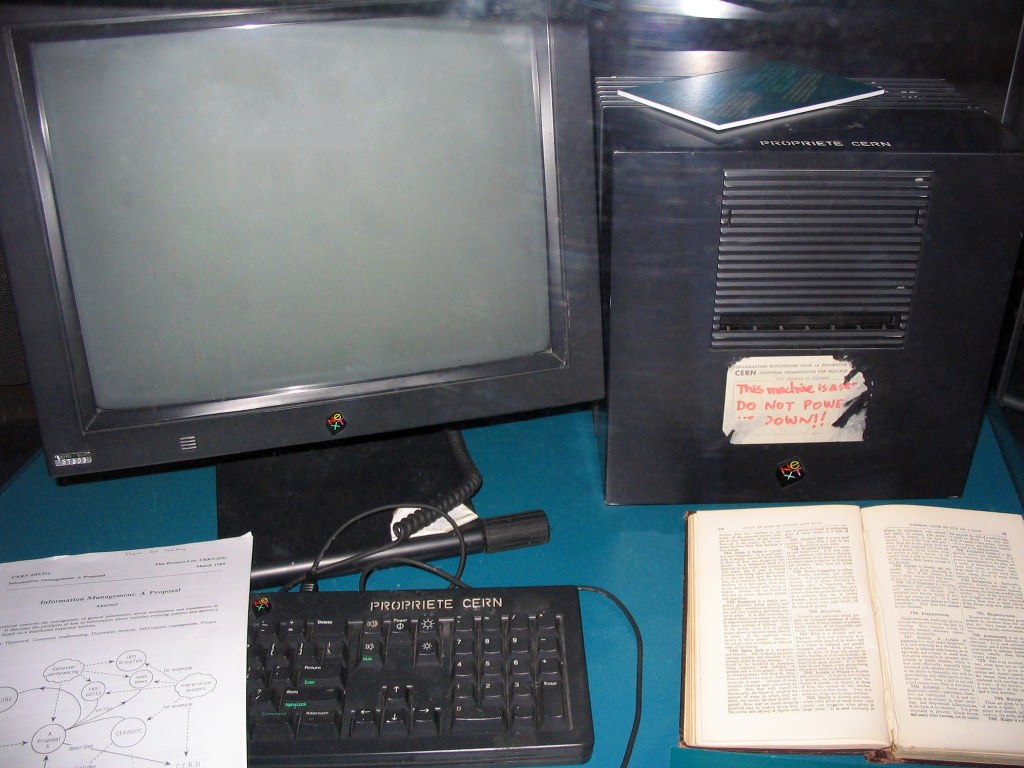 The NeXT cube used by Tim Berners-Lee as the first Web server on the World Wide Web. It is shown here displayed  in the museum at CERN, where Berners-Lee was working in 1991 when he invented the Web.
