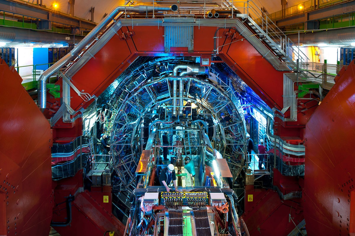Overall view of the ALICE detector. But you already knew that. There are at least seven people in this photo.